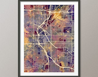Denver Map, Denver Colorado City Street Map, Art Print (1540)
