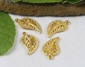 1 Gold Filigree Leaf Charms 18 x 10 mm U.S Seller - sc203