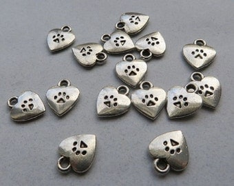 10 Paw Print Heart Charms, Antique Silver Tone 12 x 9 mm Ships From The United States - ts610