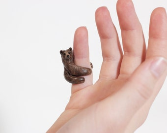 Brown Bear Ring - Bear Jewelry - Finger Cuff - Hand Sculpted, Made to Order in Your Size