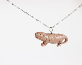 Naked Mole Rat Necklace - Hand Sculpted - Made to Order
