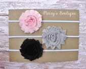 Set of 3- Light Pink, Grey and Black Flower Headband Set/ Headband/ Newborn Headband/ Baby Headband/ Wedding/ Photo Prop