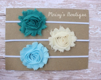 Set of 3- Teal, Ivory, Sky Blue Shabby Flower Headband Set/ Headband/ Newborn Headband/ Baby Headband/ Wedding/ Photo Prop