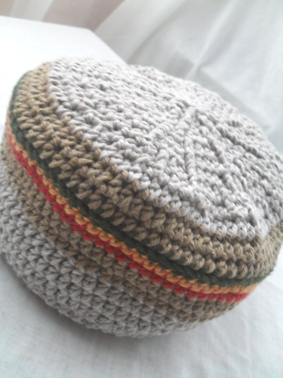 Organic Rasta Youth Hat Grey Tam with Red, Gold and Green CUSTOM ORDER