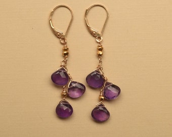 Amethyst Dangle Earrings, February Birthstone Earrings, Dark Purple Gemstone Earrings, Amethyst Gold Earrings