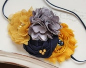 Navy, Mustard and Grey flower headband, blue and mustard headbands, newborn headband, photography prop, fall headbands