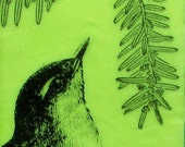 Bird and Evergreen Branch Original Encaustic Painting