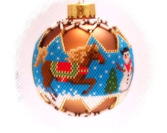 Snow Pony and Snowman woven Delica beaded Ornament