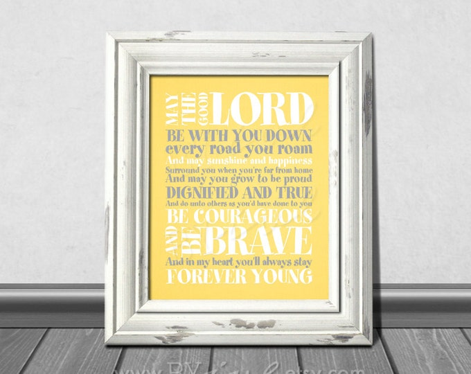 Forever Young Lyrics, Rod Stewart song, yellow and gray colors, Nursery Stripes Theme, Download Immediately