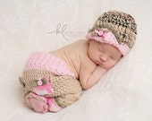Newborn Girl Camo Hat and Pants Set - Little Hunter Girl- Lace Flip Brim Hat