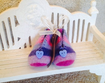 Pink and Blue Stripe Felted Wool Baby Booties with Heart Button for Trim. Valentines