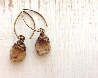 Brown Leaf Earrings, Wire Wrapped, Dangle Earrings, simple Leaves Earrings, Fall Leaf
