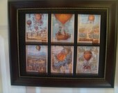 HOT AIR BALLOONS -  6 miniature collectors cards in a frame