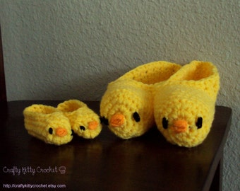 Crocheted Mommy and Me Chick / Duck Slippers and Booties - Multiple Sizes Available - New Mom, New Baby, Baby Shower Gift