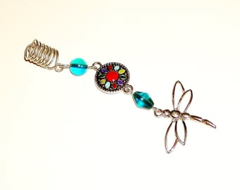 Dreadlock Jewelry - Silver Open-Dragonfly Loc Jewel