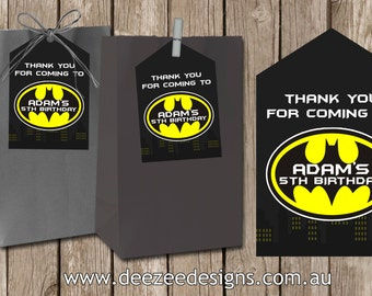 Personalised Batman Lollybag Favour Favor Tags - You Print