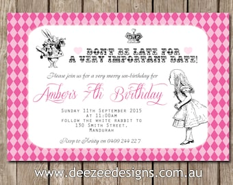 Vintage Alice in Wonderland Personalised Birthday Invitations - YOU PRINT