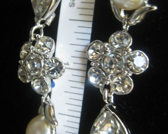 CLEARANCE MONET Rhinestone & Pearl 2 Inch Long Dangle Earrings.  3 Sections: Pearl Cab Top, Rhinestone Floret,  Large Rhinestone Teardrop.