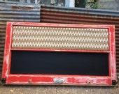 Reclaimed Old Window - MAGNETIC CHALKBOARD - Burlap Cork Board - Shabby CHIC Rustic Red Frame -Vintage Glass Knobs Scroll Hooks Chalk holder