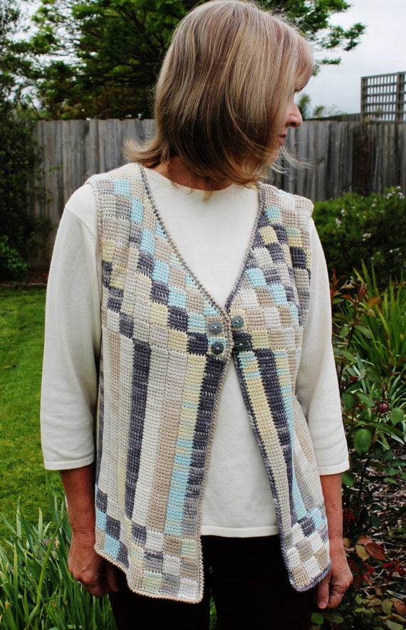 Free Crochet Cotton Vest Pattern : Crochet pattern for an Entrelac cotton vest using a simple