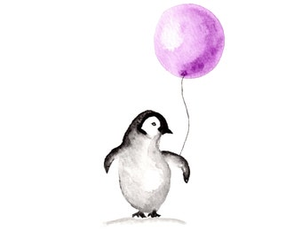 Penguin Art print Watercolor 8 x 10
