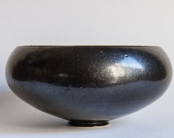 Danish Pottery Bowl, Black Gloss, Pedestal Foot.