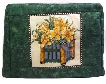 20% off Two Slice Toaster Cover, Green Toaster Cover with Yellow Flowers