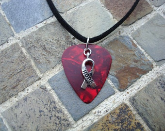Hope Ribbon Guitar Pick Necklace, Heart Disease, Stroke, AIDS, HIV, Substance Abuse Awareness. Red Swirl with Hope Ribbon Charm.