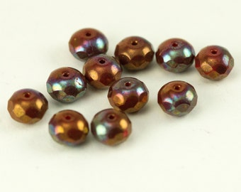 Autmn Orange and Blue Czech Glass Beads - Fire Polished Beads 6 x 8 mm - Qty 38