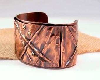 copper cuff fold formed boho rustic
