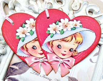 Vintage Heart Girl Tags - Set of 6 - Retro Valentine Card-Classroom Valentine-Valentine Treat Tags-Valentine Favor Tags-Valentine Gift Tags