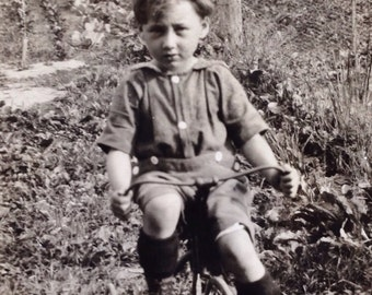 Original Antique Photograph The Little Boy in the Forest
