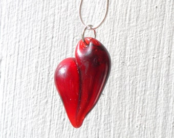 Glass Heart Necklace, Blown Glass Jewelry, Lampwork Handblown SRA, Red Boro Pendant