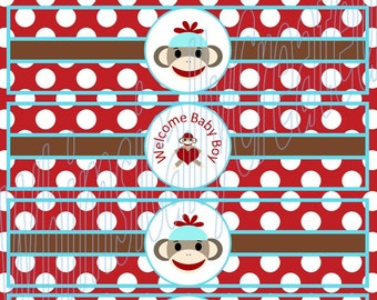 Sock Monkey Water bottle Labels - Sock Monkey Party - Blue, Red and Brown