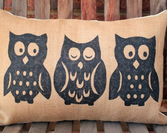 Hand Painted Owl Trio on burlap pillow cover