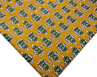 Dress Making Cambric Cotton Fabric-Indian Cotton Fabric - Green and Mustard Floral Pattern - Soft Fabric - Dress and Quilting Cotton Fabric