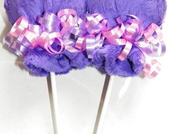 purple minky scratch mitten lollipops baby shower favor decoration girl extremely soft