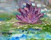 Lotus Flower Oil Painting, Lotus in Water, Hope Renewed, Impressionism, Floating Lotus, Original Oil, Kathleen Leasure, From Glen To Glen