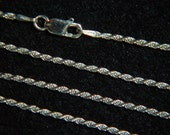 """Fine Italian 24"""" 030 - 1.2MM, 925 Solid Sterling Silver Necklace Chain, Fancy Rope Style, Lobster Clasp  *91SS3024"""