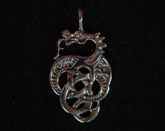Celtic Dragon solid Argentium® Sterling Silver Pendant  *AS94080