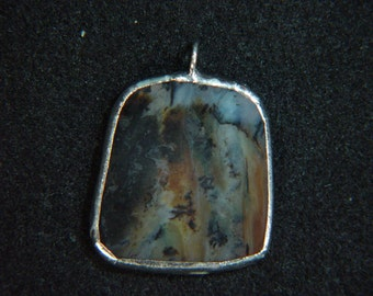 Montana Moss Agate Pendant - Free Form, Silver Alloy Bezel  *1000079