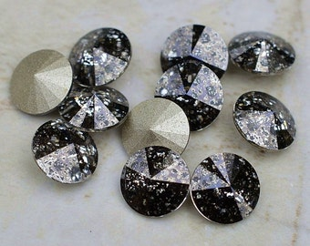 12 Black Patina 39ss Swarovski Rivoli Rhinestones-Loose Rhinestones-Bulk Rhinestones-Wholesale Rhinestones-Loose Crystals