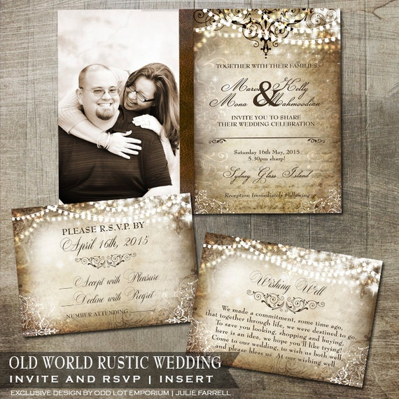 Rustic Vintage Old World Wedding Photo Invitation By OddLotPaperie