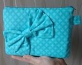 Turquoise aqua padded  Kindle zipped case:  with geometric print