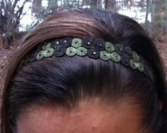 Adjustable Olive & Brown Coil Headband