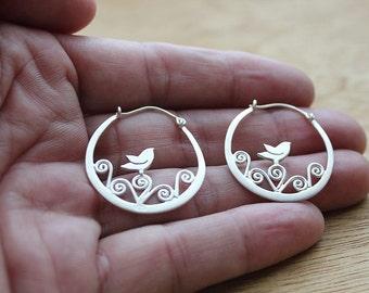 Bird earrings - silver bird - tiny bird earrings - sterling bird earrings - love bird earrings - bird on branch