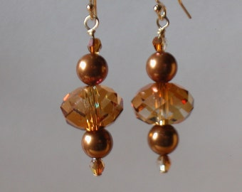 Swarovski Copper Pearl and Crystal Earrings