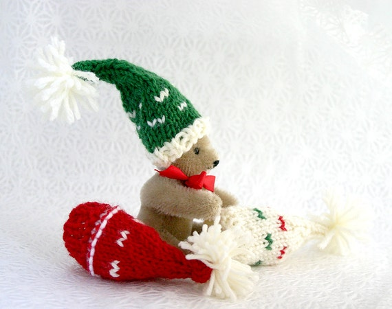 Mini Elf Knitting Pattern : Miniature Knitted Hats 3 Knit Elf Hats Red Green Cream