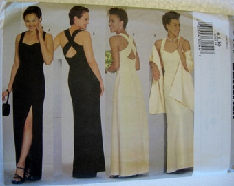Butterick Misses Womens Evening Dress Gown and Stole Sewing Pattern 6463 UC Uncut FF Size 6 8 10