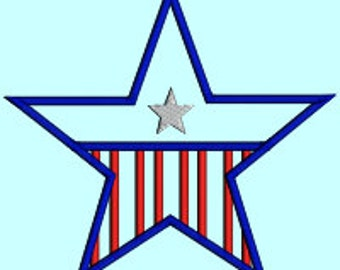 Star Applique USA Flag Americana American Flag Patriotic Star INSTANT DOWNLOAD Embroidery Design